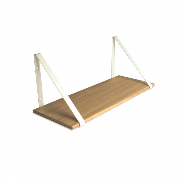 Design Shelf Natural Oak 60 x 24 cm with white metal brackets Archiv Collection
