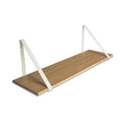 Design Shelf Natural Oak 80 x 24 cm with white metal brackets Archiv Collection