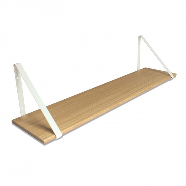 Design Shelf Natural Oak 100 x 24 cm with white metal brackets Archiv Collection