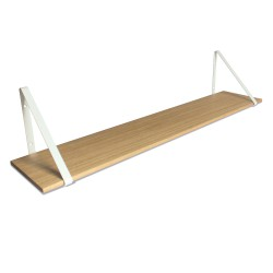 Design Shelf Natural Oak 120 x 24 cm with white metal brackets Archiv Collection