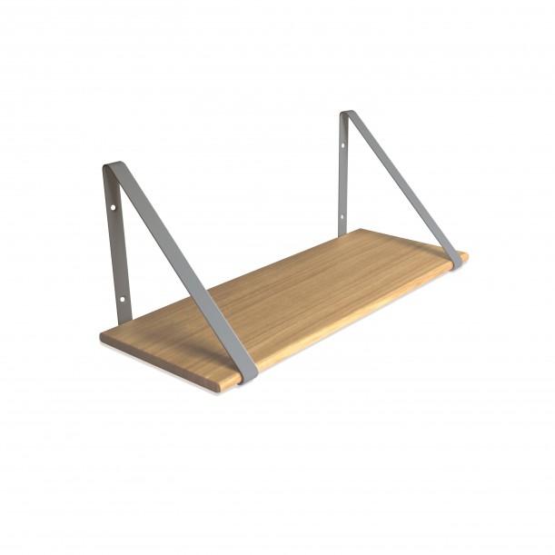 Design Shelf Natural Oak 60 x 24 cm with grey metal brackets Archiv Collection