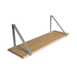 Design Shelf Natural Oak 80 x 24 cm with grey metal brackets Archiv Collection