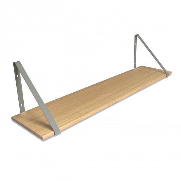 Design Shelf Natural Oak 100 x 24 cm with grey metal brackets Archiv Collection