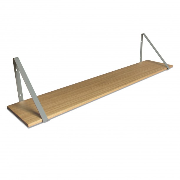 Design Shelf Natural Oak 120 x 24 cm with grey metal brackets Archiv Collection