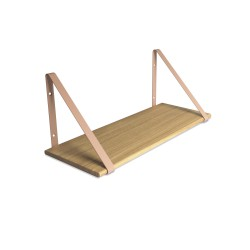 Design Shelf Natural Oak 60 x 24 cm with rose metal brackets Archiv Collection