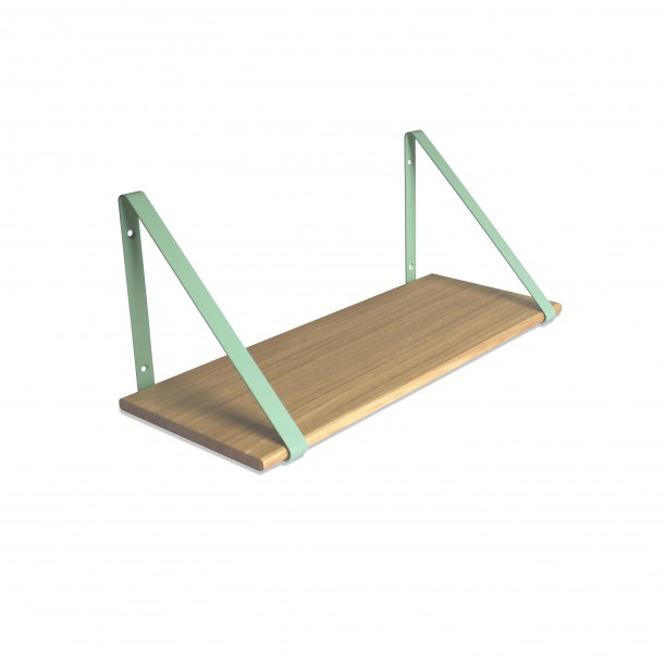 Design Shelf Natural Oak 60 x 24 cm with mint metal brackets Archiv Collection