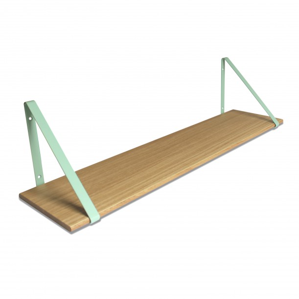 Design Shelf Natural Oak 100 x 24 cm with mint metal brackets Archiv Collection