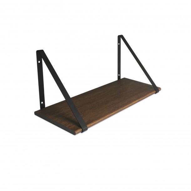 Design Shelf Dark Oak 60 x 24 cm with black metal brackets Archiv Collection