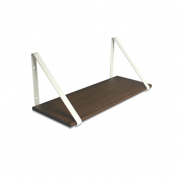Design Shelf Dark Oak 60 x 24 cm with white metal brackets Archiv Collection