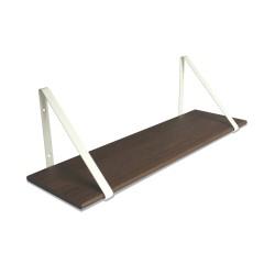 Design Shelf Dark Oak 80 x 24 cm with white metal brackets Archiv Collection