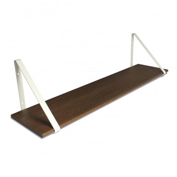 Design Shelf Dark Oak 100 x 24 cm with white metal brackets Archiv Collection