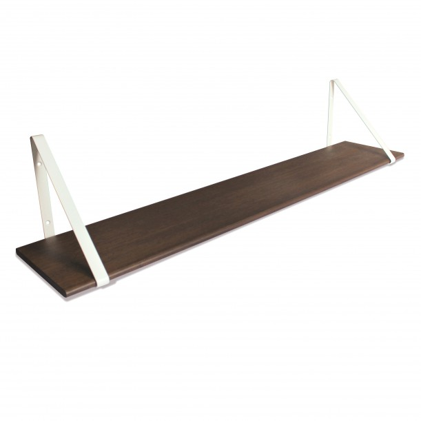 Design Shelf Dark Oak 120 x 24 cm with white metal brackets Archiv Collection
