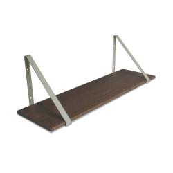 Design Shelf Dark Oak 80 x 24 cm with grey metal brackets Archiv Collection