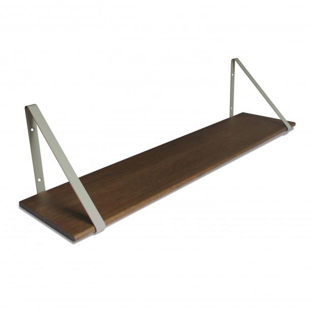 Design Shelf Dark Oak 100 x 24 cm with grey metal brackets Archiv Collection