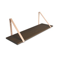 Design Shelf Dark Oak 80 x 24 cm with rose metal brackets Archiv Collection