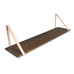 Design Shelf Dark Oak 100 x 24 cm with rose metal brackets Archiv Collection