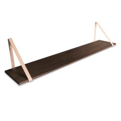 Design Shelf Dark Oak 120 x 24 cm with rose metal brackets Archiv Collection