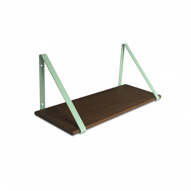 Design Shelf Dark Oak 60 x 24 cm with mint metal brackets Archiv Collection