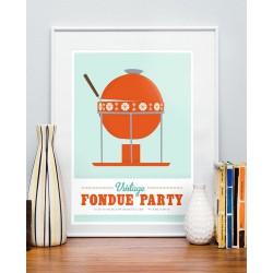 Print Fondue Party Vintage