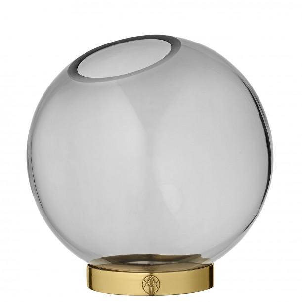 Vase Globe Verre Medium Noir et Laiton Diam 16 cm AYTM