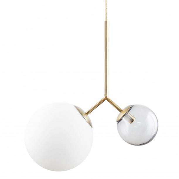 Lampe Suspension Opal Twice Blanche et Grise Diam 26 & 15 cm House Doctor