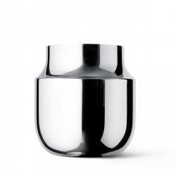 Vase Tactile Wide acier inoxydable poli H 18 Diam 17 cm Menu