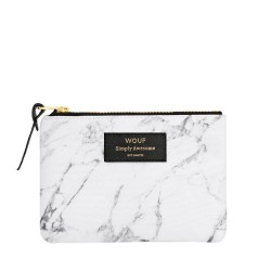 Pouch White Marble Small 13 x 11 x 2 cm WOUF