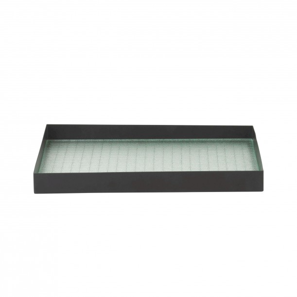 Haze Tray Medium Wired Glass and Black Metal L 33 x 24 cm Ferm Living