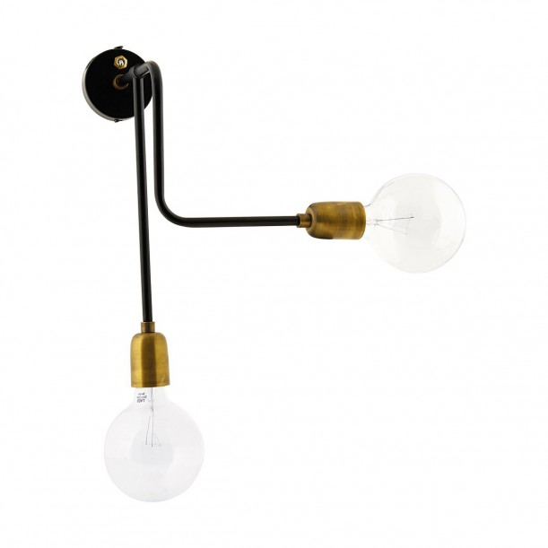Wall Lamp Molecular Double Black and Brass House Doctor
