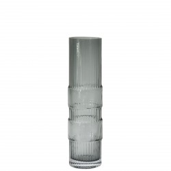 Ondin Vase Grey Glass Medium H 29 x Diam 8 cm Eno