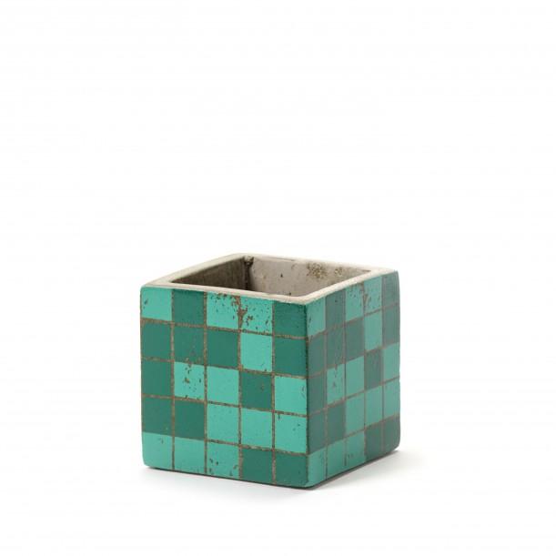 Cubic Concrete Pot Marie Mosaic Green 7,5 x 7,5 x 7,5 cm Serax