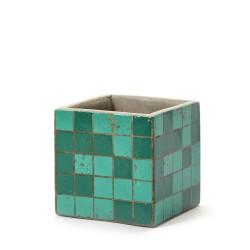 Cubic Concrete Pot Marie Mosaic Green 11 x 11 x 11 cm Serax