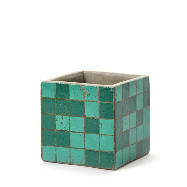 Pot Béton Cubique Marie Mosaïque Verte 11 x 11 x 11 cm Serax