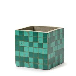 Pot Béton Cubique Marie Mosaïque Verte 13 x 13 x 13 cm Serax