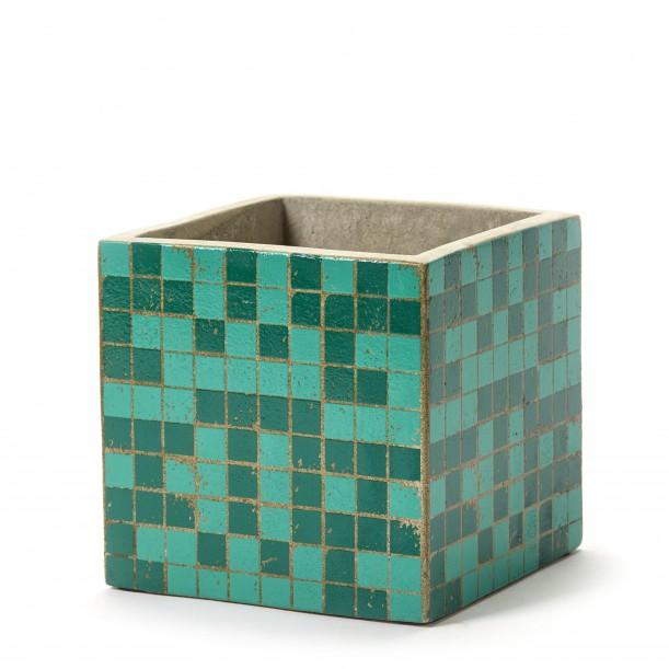 Cubic Concrete Pot Marie Mosaic Green 15 x 15 x 15 cm Serax