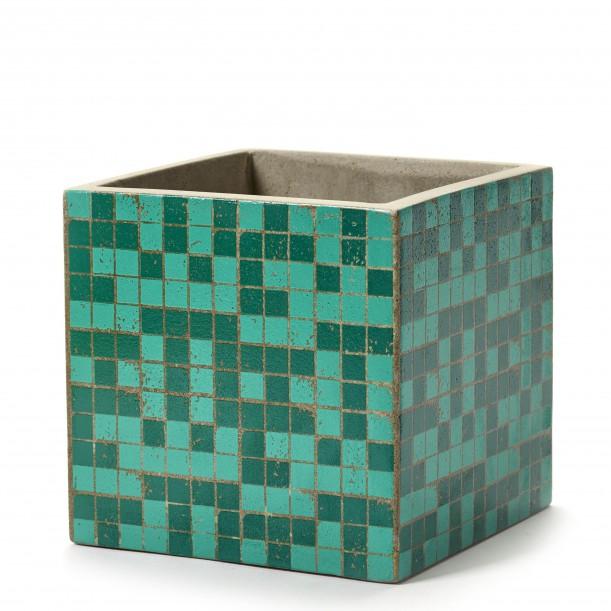 Cubic Concrete Pot Marie Mosaic Green 17 x 17 x 17 cm Serax