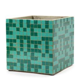 Pot Béton Cubique Marie Mosaïque Verte 22 x 22 x 22 cm Serax