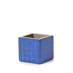 Cubic Concrete Pot Marie Mosaic Blue 7,5 x 7,5 x 7,5 cm Serax