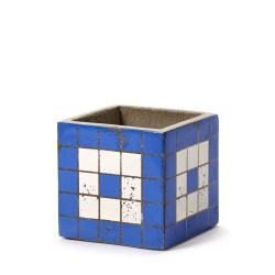Cubic Concrete Pot Marie Mosaic Blue 11 x 11 x 11 cm Serax