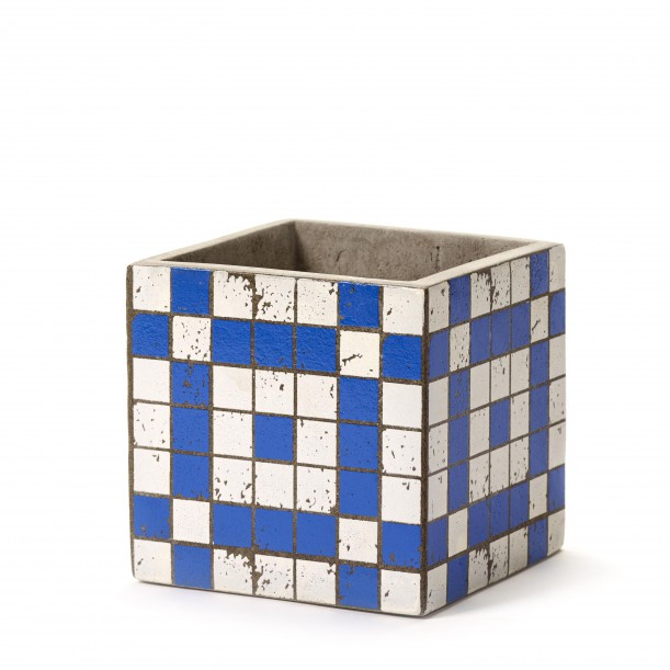 Cubic Concrete Pot Marie Mosaic Blue 13 x 13 x 13 cm Serax