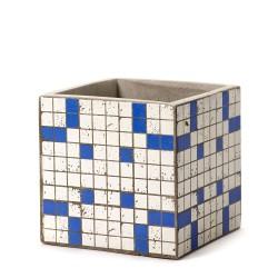 Pot Béton Cubique Marie Mosaïque Bleue 15 x 15 x 15 cm Serax