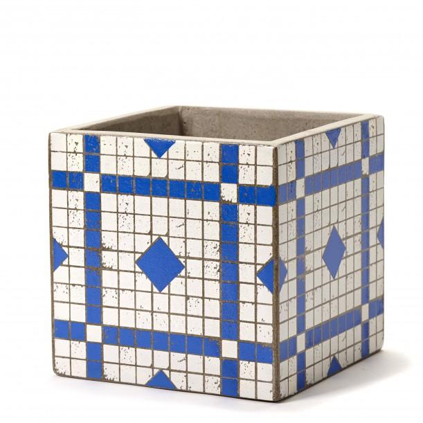 Cubic Concrete Pot Marie Mosaic Blue 17 x 17 x 17 cm Serax