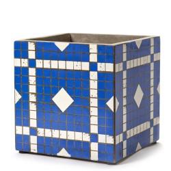 Cubic Concrete Pot Marie Mosaic Blue 22 x 22 x 22 cm Serax