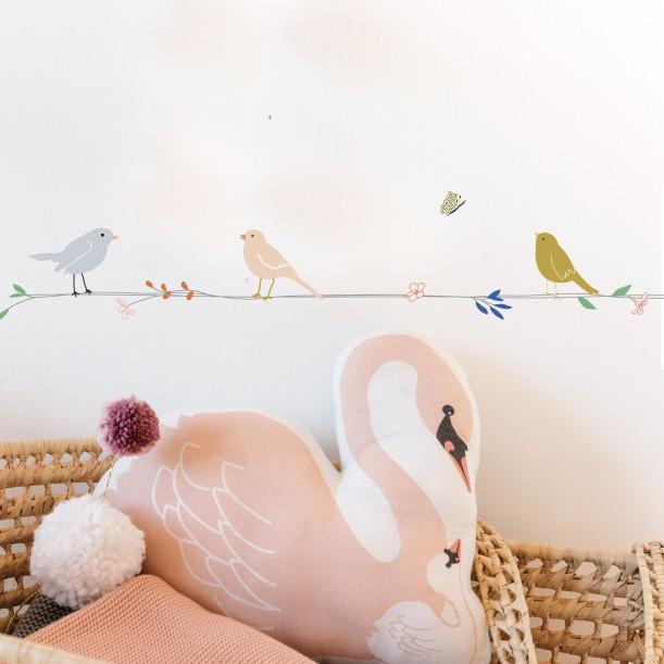 Sticker Mural Frise Fleurs et Oiseaux Mimilou