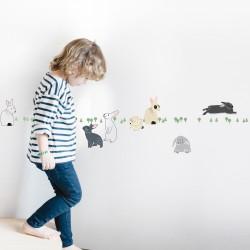 Sticker Mural Frise Lapins dans la Forêt Mimilou