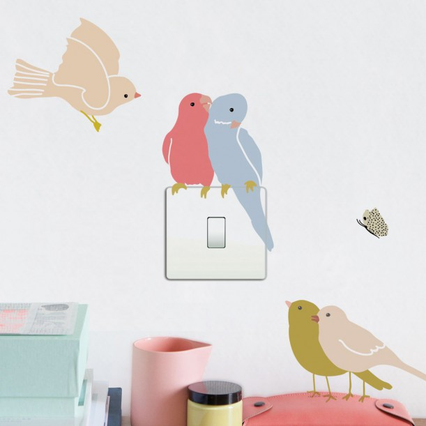Sticker Mural Just a Touch Birds on Light Mimilou