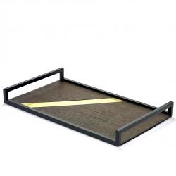Platter Grint Piece Messing metal and wood 40 x 24 cm Serax