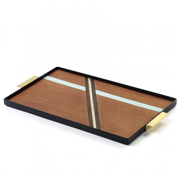 Platter Grint Handle Messing metal and wood 44 x 24 cm Serax