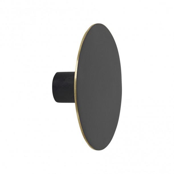 Patère Noire et Laiton Large Diam 7 x 2,5 cm Ferm Living
