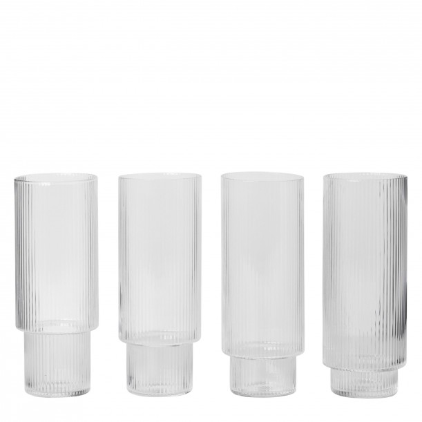 Ripple Glass Long Drink Diam 7 x H 14 cm Set of 4 Ferm Living
